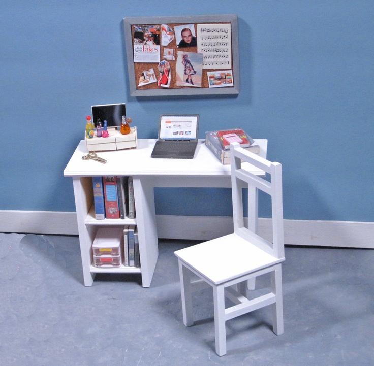 Aspen White Study Desk with Tackboard - 1/6 Scale Furniture. $75.00, via Etsy.