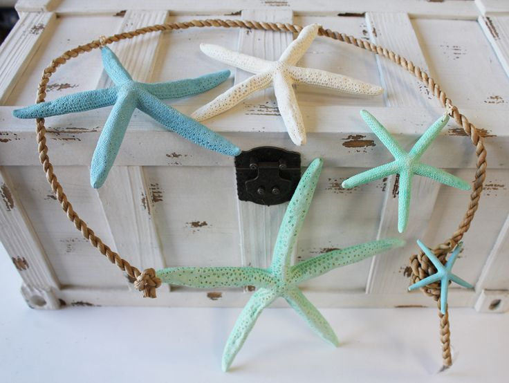 Cascading Blue Finger Starfish Garland Strand - Beach Chic Cottage Decor - California Seashell Company