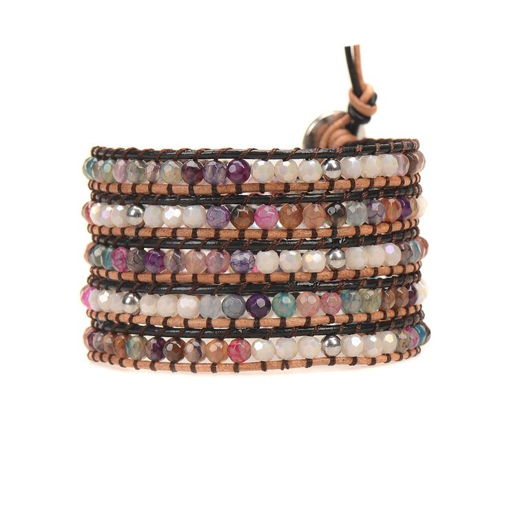 Agate & Stainless Steel Beads on Mixed Leather - Wrap Bracelet