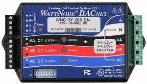 WattNode BACnet  The WattNode BACnet is a kilowatt hour kWh energy and power meter that communicates on a EIA RS-485 network, measures 1, 2, or 3 phases with voltages from 120 to 600 volts Vac and currents from 5 to 6,000 amps in delta (phase to phase) and wye (phase to neutral) configurations.
