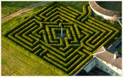 """Russborough House in Ireland.    """"The maze is yet another fascinating feature at Russborough. Planted in 1989 and designed by Adrian Fisher and Rondoll Coate of Minotaur Designs the design reveals a clue to the identity of its owners, the Beits. Since Sir Alfred's family were early pioneers of the diamond trade the centre of the maze leads to a diamond shape."""""""