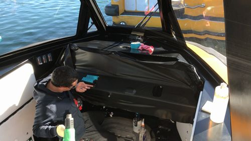 Carbon fibre boat dash wrap x2 done today along with matte black tops  #vinylboatwraps #dashwrap #3m https://video.buffer.com/v/5950b69c29f69f7c254d9849