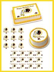 Washington Redskins Edible Birthday Cake Topper OR Cupcake Topper, Decor