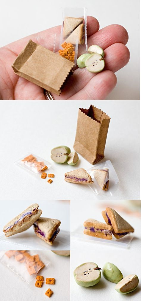 Made from sculpey, liquid sculpey, paper, plastic. Pb&J, Apple, Cheez-its about 1:6 scale Nommy Miniatures Etsy Shop -