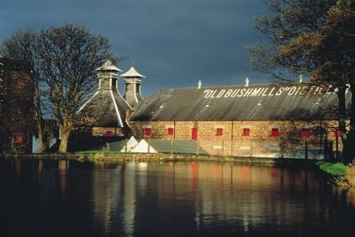 The Old Bushmills Distillery, Co Antrim, Northern Ireland. Beside the banks of the River Bush, along the Antrim coast road. Claims to be Ireland's oldest licensed distillery.