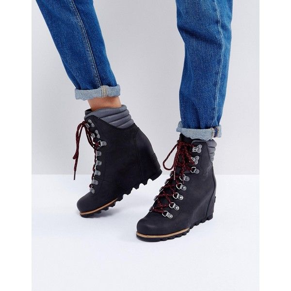 Sorel Conquest Black Wedge Lace Up Boots ($295) ❤ liked on Polyvore featuring shoes, boots, black, sorel boots, black wedge heel boots, black lace up boots, black boots and leather lace up boots