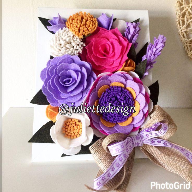 Felt Flowers Frame, Felt Flowers Wall Art, Floral Wall Art, Framed Felt Wall Decor, Wall Decor by juliettesdesigntr on Etsy https://www.etsy.com/listing/503778536/felt-flowers-frame-felt-flowers-wall-art