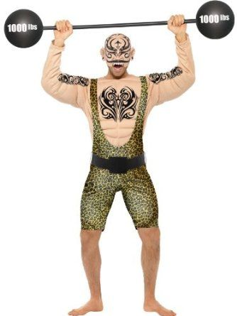 Tattooed Strong Circus Man Costume: Amazon.co.uk: Toys & Games