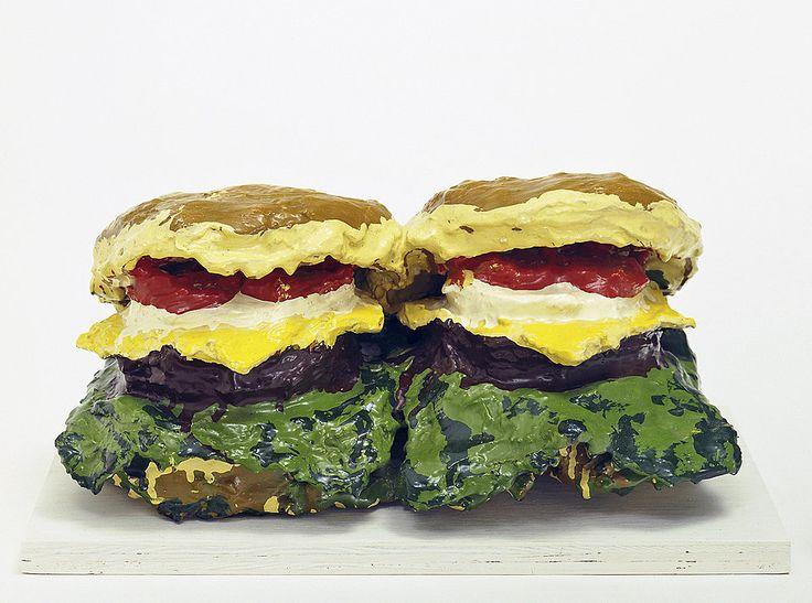 Claes Oldenburg, Two Cheeseburgers, with Everything (Dual Hamburgers), 1962  Клас Ольденбург - Два чизбургера со всякой всячиной