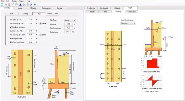 How to design retaining walls supported on piles | 3d