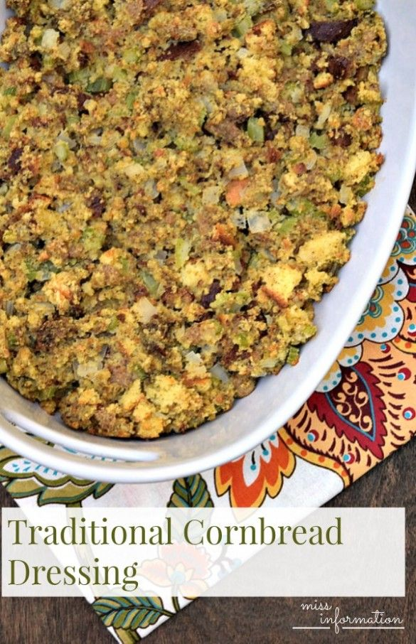A family recipe for cornbread dressing. It's a Thanksgiving staple and the perfect side dish for your turkey dinner.