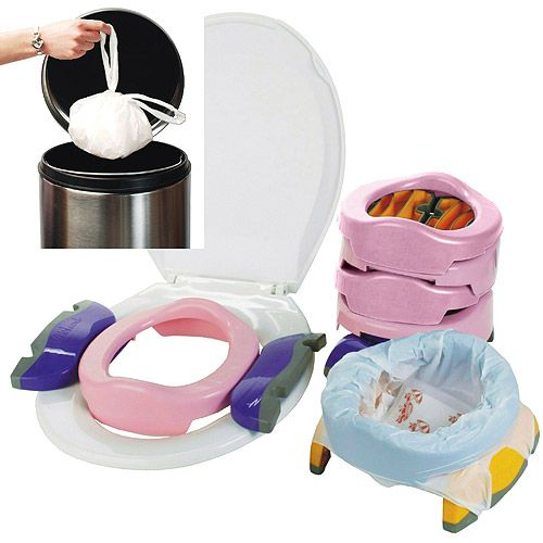 "Kalencom - Potette Plus 2-in-1 Portable Potty & Trainer. A must-have for potty training! A true ""travel"" potty ;) My J won't use a public toilet without it. This would be a great off-registry gift for Baby Shower!"