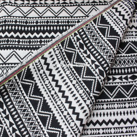 Thick BOHO Bohemian Fabric Ethnic Fabric Geometric Pop Fabric Tribal Fabric Aztec Fabric Peruvian Fabric black and white-1/2 Yard