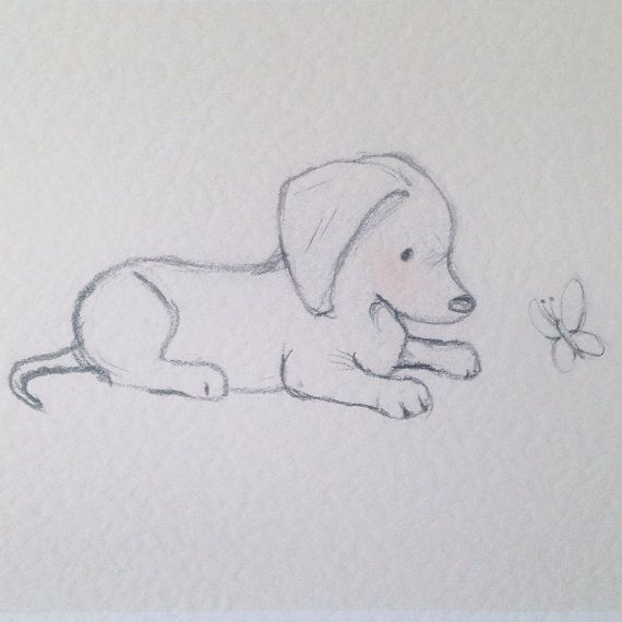 Puppy collection Dachshund and butterfly by LittleCupCreations