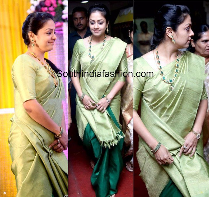 Indian Celebrities Exquisite Saree ClothingsJyothika in a half and half silk saree
