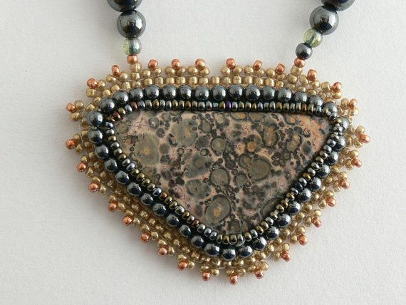 Jasper necklace. Leopard skin jasper pendant with by Evesbeads, $180.00