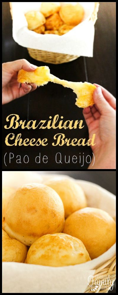 This Brazilian Cheese Bread (Pan de Queijo) is SO easy to make and is the perfect addition to any meal.  You will love the chewy bread and cheesy center. Naturally Gluten Free. via @favfamilyrecipz