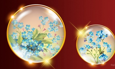 Bright Blue, Abstract Floral Orb (click to view)
