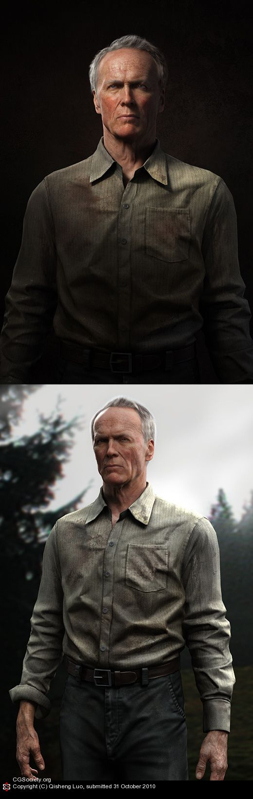 Clint Eastwood recreated as a computer generated character. Another example how close computer graphics are to fool us all that it is an actual photo.