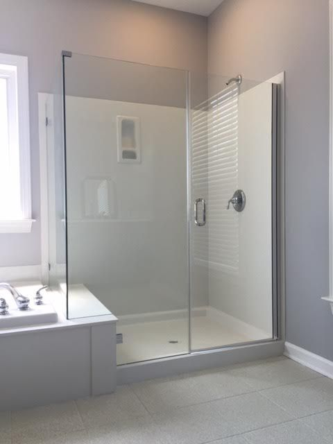 If you have cultured marble or fiberglass on your shower enclosure walls, we can still provide a beautiful frameless shower enclosure for you. Contact Carolina SGO today for your free estimate.