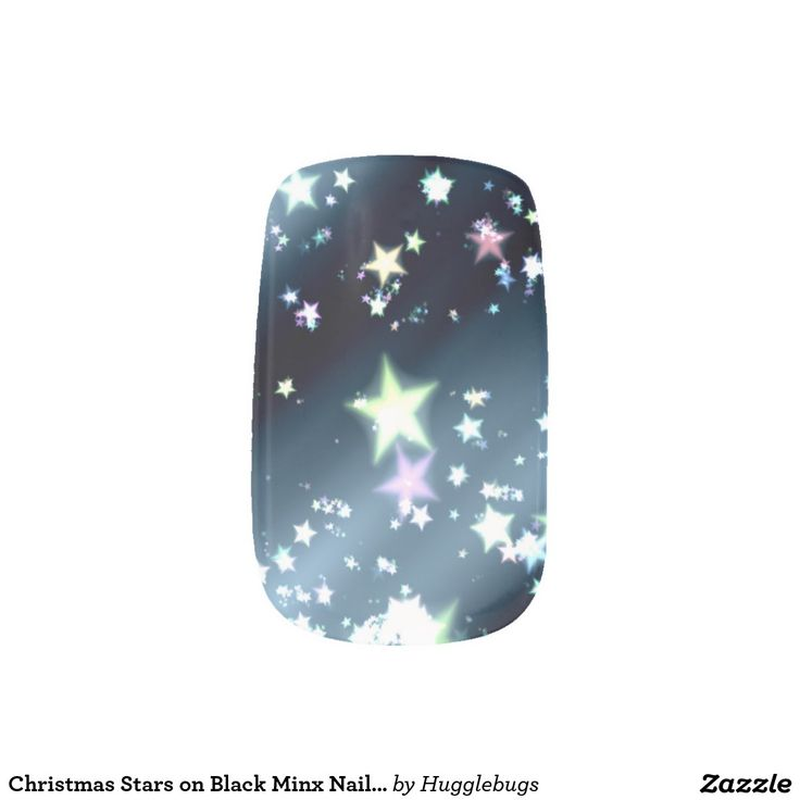 Christmas Stars on Black Minx Nail Art