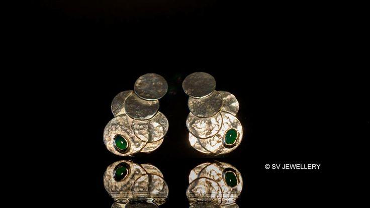 Green onyx silver earings