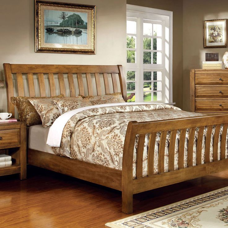 Conrad Country Style Rustic Oak Queen Bed Oak bed frame