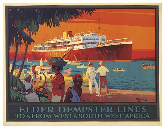 Elder Dempster Lines - to & from west & south west africa - 1935 - illustration de Odin Rosenvinge -