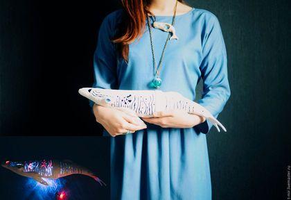 "Светильник из полимерной глины ""Белый кит"". Handmade.  Whale, polymer clay, white whale"