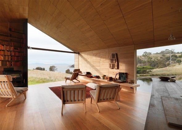 Une belle maison pour les tondeurs de moutons C'est en Tasmanie, Australie que l'on peut apercevoir ce bâtiment en fer galvanisé ondulé couplé au bois et à