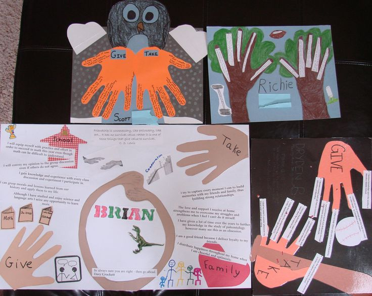 """My seventh grade boys challenged the seventh grade girls to a """"Most Clever Hand Metaphor"""" contest of sorts.  These four boys made great use of their hands.  Lesson link:  http://corbettharrison.com/free_lessons/Presenting-Me-Limited-Version.htm"""