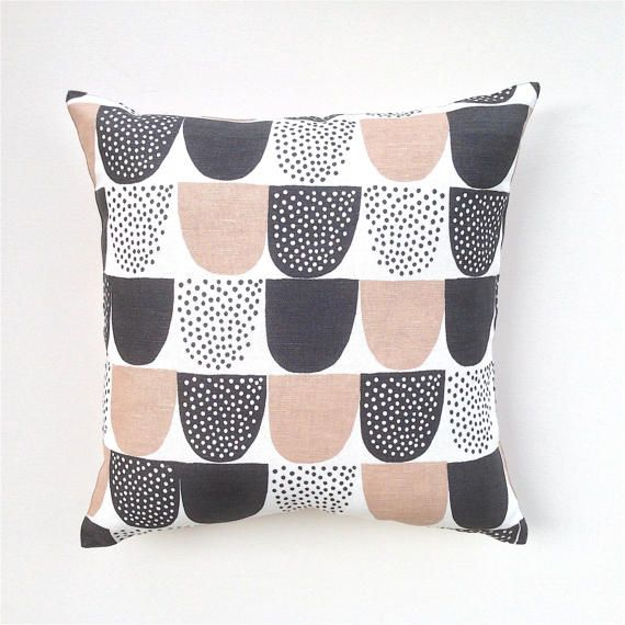 Pink and Charcoal Pillow Cover. Dusty Pink and Grey Cushion.