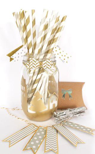 """Comment créer une ambiance facilement? Avec des étiquettes fanions, un bocal, des pailles dorées et argentées & du fil :)  #youodit #diy """"deco #pailles"""
