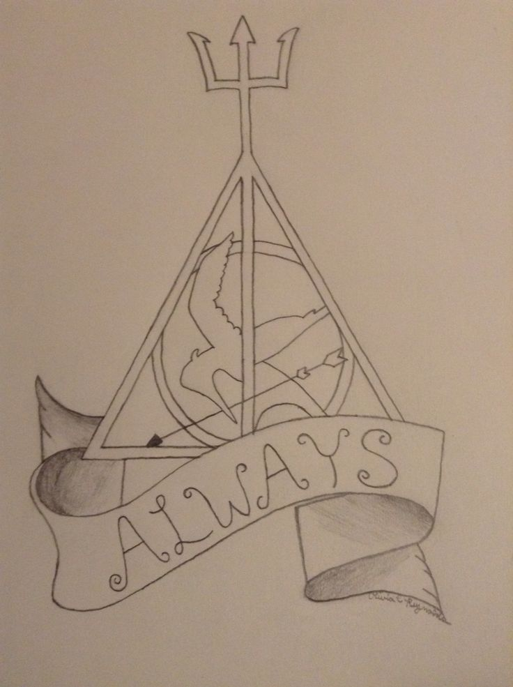 Percy Jackson, The Hunger Games, Harry Potter I drew
