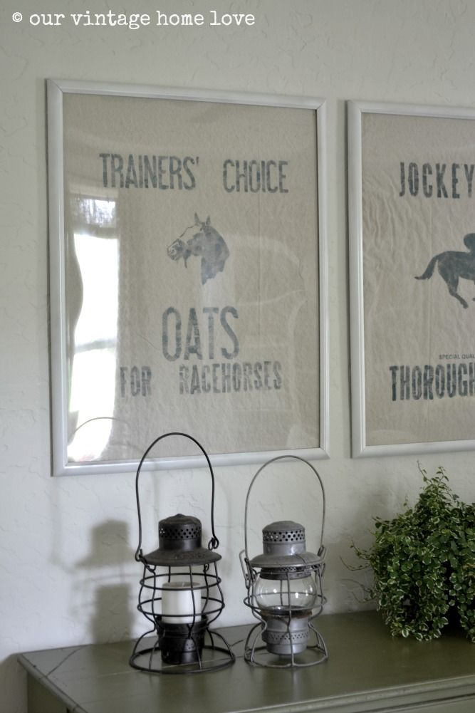 DIY vintage equestrian sacks at our vintage home love
