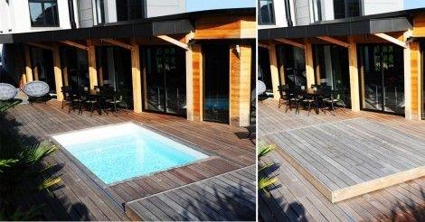 Ahorra espacio en tu jardín y tiempo en los cuidados de tu piscina, con esta cubierta móvil de madera.