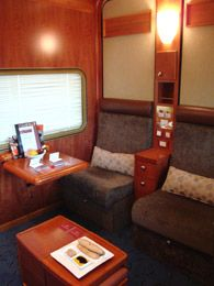 Platinum sleeper on the Indian Pacific and Ghan in day mode