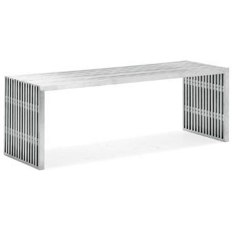 Zuo Modern Novel Double Bench Stainless Steel *** Learn more by visiting the image link.