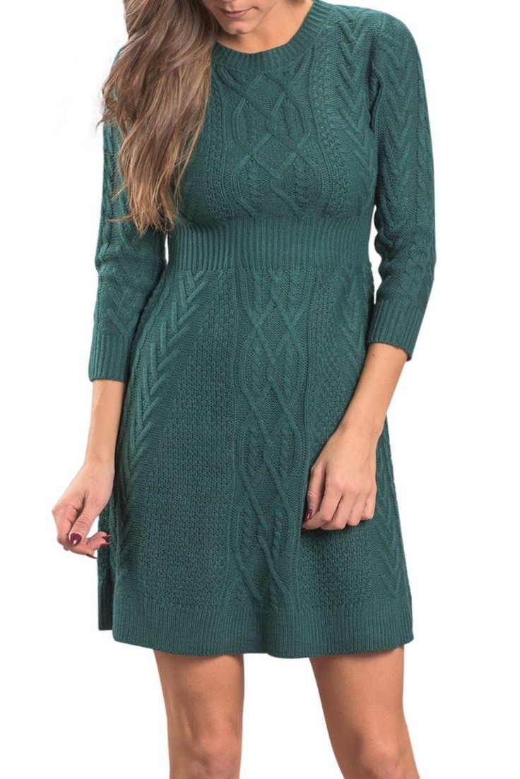 Robe Pull Vert Armee Tricote Cable Manches 3/4 Pas Cher www.modebuy.com @Modebuy #Modebuy #Vert