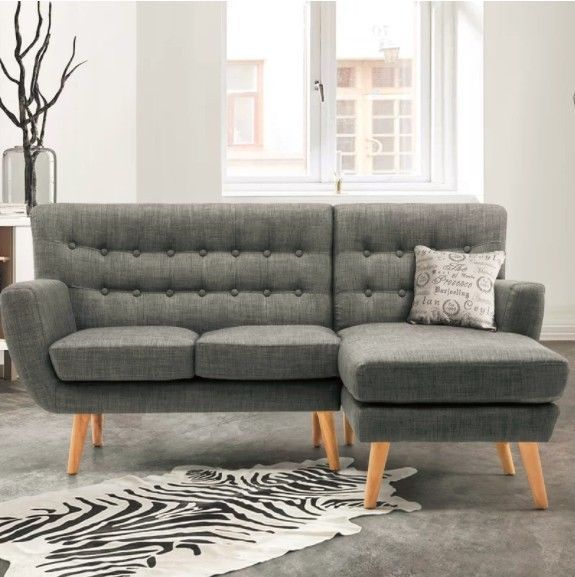 Vintage 3 Seater Sofa Grey Retro Lounge Couch Armchair Corner Seat Furniture New Wooden Living Room Furniture Grey Corner Sofa Corner Sofa
