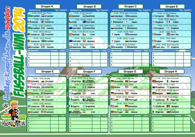 WM-2014-Spielplan zum Ausdrucken