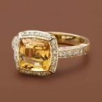 Citrine and Diamond Ring 18ct yellow gold dress ring with a centre 2.74ct square citrine stone surrounded by round brilliant cut diamonds in a claw setting - Ecali Fine Jewellery