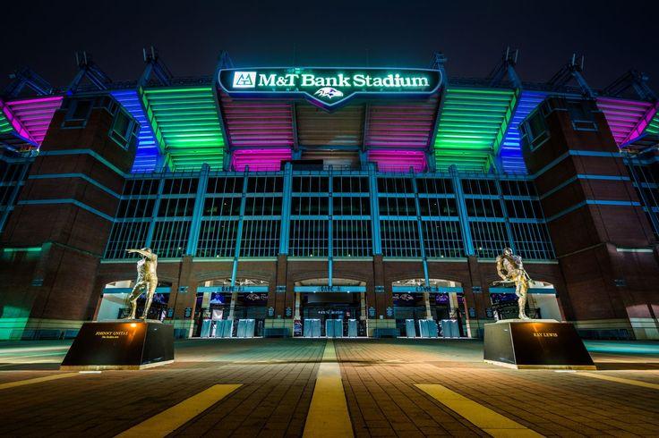 The M&T Stadium at night in Baltimore, Maryland.
