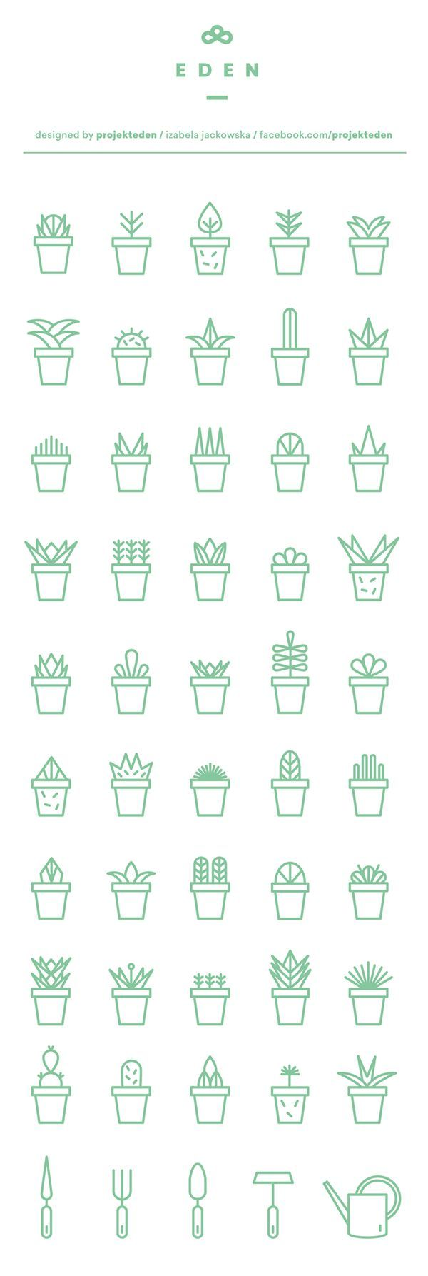 Green succulents icon set for free download. Made with love to cactus and hand painted flower pots made by projekt EDEN