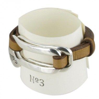 Bracelet mirillas, bijoux numero 3, couleur camel , avec du cuir et boucle double en acier - Le Comptoir des accessoires