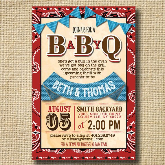 BABY Q Shower Invitation, BBQ Joint Baby Shower, Barbeque Baby Shower, BBQ  Invitations
