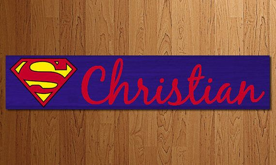 Superman Name Sign Custom Painted Wood by BlendedCreationsInc