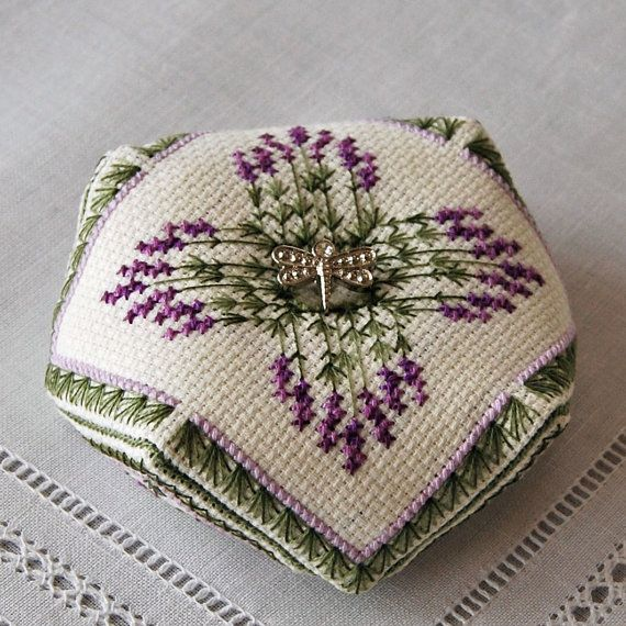 Lavender Bouquet Biscornu Cross Stitch pattern Instant