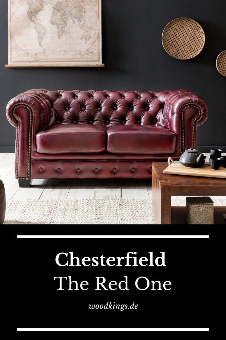 Woodkings Chesterfield in antik rot #chesterfield #sofa #sessel