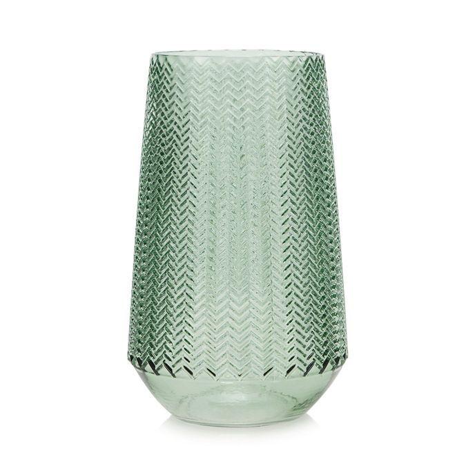 Parlane Large Green Pressed Glass Vase Debenhams Glass Vase